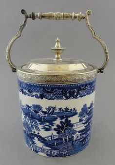 Blue willow biscuit jar - silver lid, Ebay