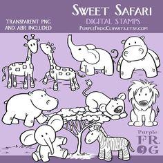 SWEET SAFARI Digital Stamp Set by PurpleFrogCliparts, $2.60