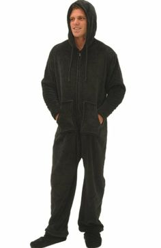 b54e911764 Del Rossa Men s Fleece Hooded Footed One Piece Onsie Pajamas