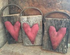 In this listing you get one of my primitive heart hangers. measures approx super grungy and Prim. has a Old leather handle and on old barn wood. Heart Decorations, Valentines Day Decorations, Winter Decorations, Valentine Day Crafts, Be My Valentine, Valentine Ideas, Primitive Crafts, Primitive Decorations, Wood Crafts