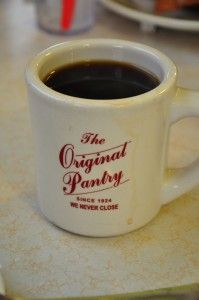 A cuppa Joe at The Original Pantry restaurant in downtown Los Angeles -- always open and always busy.