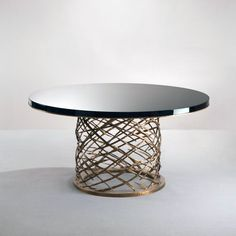 Dining Table by Hervé Van Der Straeten (see similar by Porta Romano) Luxury Dining Tables, Round Dining Table, Table Desk, Dining Furniture, Luxury Furniture, Home Furniture, Furniture Design, Metal Chairs, Decoration