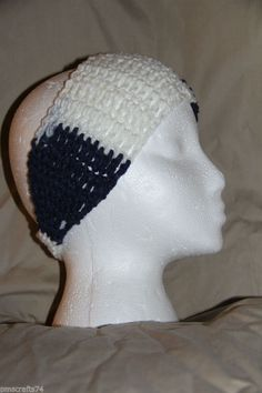 Crochet Unisex Teen/Adult headband earwarmer fits most Team Colors NAVY  WHITE #homemade #earwamerheadband #teamsports #pmscrafts74