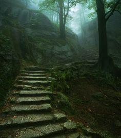 Stairway to the Old Castle, Karkonosze, Poland ~ by Karol Nienartowicz