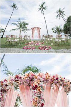 Breathtaking ombre floral wedding arch in blush and peach for beach wedding wedding in Phuket: http://www.confettidaydreams.com/cape-panwa-wedding-phuket/