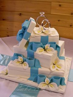 Gift Box Wrapped in Beautiful Wedding Cakes - Wedding Cake