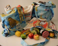 Vintage linens are a great source for fun fabrics! Here's a project to turn them into great reusable shopping bags for your next grocery outing.