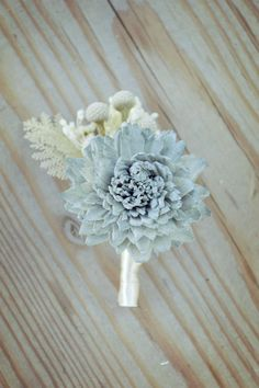 Slate Wedding Collection Boutonniere Bouquet Sola Flowers and dried Flowers Grey Navy Blue Dusty Miller Silver Brunia Anemone