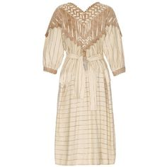 Zandra Rhodes Vintage 1970s Cream Smock Dress ($765) ❤ liked on Polyvore featuring dresses, vintage dresses, smocked dresses, mid length dresses, cream dress i print dress