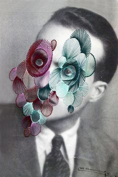 Maurizio Anzeri (b. 1969 Loano, Italy) - Giorgio, 2011 Embroidery on Print Mixed Media Photography, Photography Collage, Collages, Collage Art, Face Collage, Photomontage, A Level Art, Sewing Art, Embroidery Art
