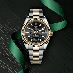 The Rolex Sky-Dweller in Oystersteel and yellow gold, 42 mm case, Black dial, Oyster bracelet. The sophisticated traveller's watch. #Rolex #SkyDweller Luxury Watches, Rolex Watches, Sky Dweller, Rolex Women, Black Leather Watch, Automatic Watches For Men, Oyster Perpetual, Mechanical Watch, Bracelet Making