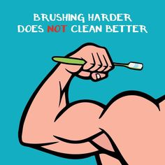 Brushing harder does not clean better. Please use a soft bristled toothbrush and move it in circular motions!