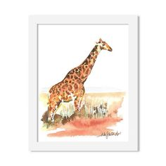 giraffe - 8 x 10 print - JustGreet Watercolours, Giraffe, Art Prints, Animals, Art Impressions, Felt Giraffe, Animales, Animaux, Giraffes