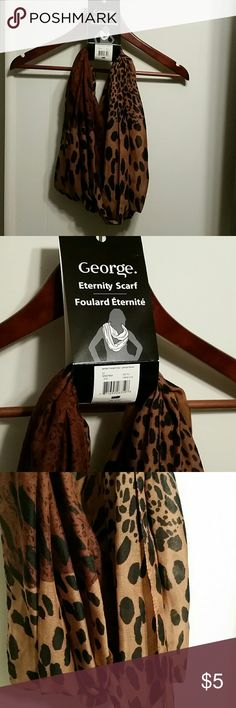 Eternity Scarf - Leopard Print Brand new. Never worn. Great eternity scarf. Can worn with a blouse or with a coat. Very inexpensive. Great to add to a bundle.   Original Owner.  Pride of Ownership.  Great Quality Items.  Items in Good Condition.  Low Prices.  Fast Shipping.  No Trades.  Great deals please no lowballs.  Will consider bundle discounts. Accessories Scarves & Wraps