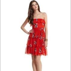 White House Black Market Orange Ruffled Rose Dress