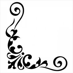 corner corners border borders damask baroque free graphic rh pinterest com  black and white damask border clip art