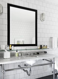 Image of Square Subway Tiles  bath bathroom sink mirror black square subway tile marble counter