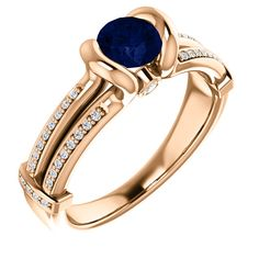 14kt Rose Gold 5.2mm Center Round Sapphire and 42 Accent Genuine Diamonds Engagement Ring...(ST71699:149:P).! Price: $799.99 #diamonds #ring #gold #bezelring #fashion #jewelry #jemstone