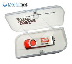 Red colored #branded #USB flash drive Clip 'n Easy with 2 color screen #print, exclusively packed in sleek EVA #giftbox with magnetic clip-lock. The #promotional #gift that is guaranteed to succeed!    http://www.memotrek.com
