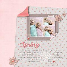 spring flowers digital scrapbook layout sisters girls play outside fun scrap book page