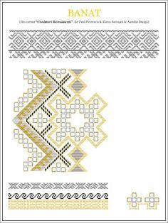 paulpetrescu&elenasecosan&aureliadoaga - ie BANAT. Embroidery Sampler, Folk Embroidery, Embroidery Stitches, Embroidery Patterns, Cross Stitch Patterns, Knitting Patterns, Cross Stitching, Beading Patterns, Pixel Art