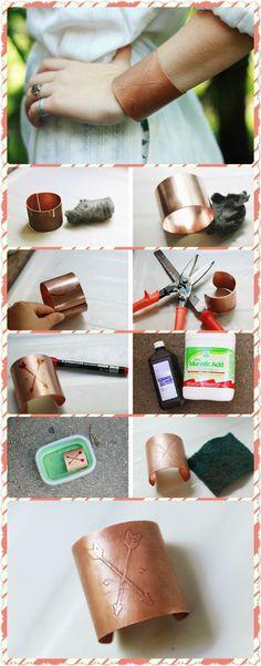 DIY ETCHED COPPER CUFF  Click www.welikecraft.com for more craft ideas!  bracelet diy bracelet handmade bracelet diy tutorial