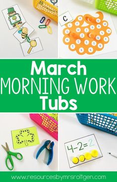 March Morning Work Tubs | Let your Kindergarten students work on rhyming leprechauns, St. Patrick's Day, rainbows, cutting, consonants, colors, subtraction, letter writing, tranfer of pom poms, word building, graphing, echo drawing, letter match, color by number, counting, CVC words, number mats, puzzles, scrambled up sentences, missing numbers, and push pin pages with this great download. Click through to see more images and learn more now! (kinder, kinders, homeschool, home school)