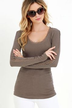 Baby it's cold outside! So stay in and snuggle up in the Others Follow Snowed In Taupe Long Sleeve Top! This thermal top features lace trim along it's rounded neckline as well as pierced lace trailing down the long, fitted sleeves. A fitted bodice and rounded hem makes this top perfect for pairing with jeans or tucking into high-waisted skirts. Unlined. 100% Cotton. Machine Wash Cold. Imported.