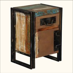 Industrial #NightStand End Table of Iron & #ReclaimedWood Furniture #interiors #contemporyfurniture #homedecor #furniture #homeinspiration   http://www.sierralivingconcepts.com/