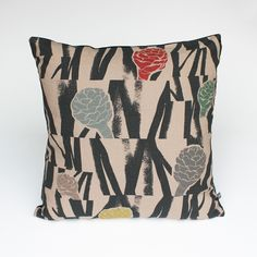 Large Square Cushion 'Sediment Multi' Aly Storey Handprinted Textiles £60.00 Square limited edition print on cotton made up into cushions, includes feather pad. Hand screen printed with seven colours on one side. Using soft to the touch textile inks. Back in sumptuous polyester velvet in complementary colour, 'Charcoal'. Removable, zipped cushion cover. Weight: 1.2 kg Dimensions: 53 x 53 x 16 cm