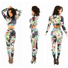 NEW SEXY LADIES SHOP FASHION CASUAL SEXY 2 TWO PIECES FLOWER PRINT CLUB JUMPSUIT CELEBRITY BODYCON BANDAGE PARTY
