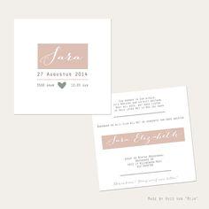"""Geboortekaartje ,birthannouncement, Oudroze, Oudgroen, handlettering style, design by Huis van """"Mijn"""""""