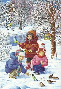 """""""Winter fun"""" by Love Novoselov. Christmas Scenes, Christmas Art, Winter Christmas, Vintage Christmas, Illustration Noel, Christmas Illustration, Illustrations, Winter Images, Winter Pictures"""