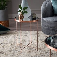 The Belham Living Bradley Round Copper End Table is the perfect way to complement your entertainment space with functionality and fashion. This Hayneedle-exclusive. Copper Coffee Table, Coffee And End Tables, Coffe Table, Find Furniture, Quality Furniture, Furniture Decor, Mirrored Side Tables, Modern End Tables, Living Room