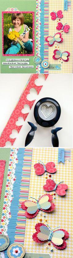 Cheap and Easy DIY Scrapbook Idea Layouts | Heart Butterflies by DIY Ready at http://diyready.com/cool-scrapbook-ideas-you-should-make/ #scrapbookideas #scrapbooking101