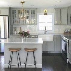 Luxury Small Kitchen NEW Authentic Visual Comfort Darlana Chandelier Mini Pendant 2175 Open Cage - Grey Kitchen Cabinets, Diy Kitchen, Kitchen Decor, Shaker Cabinets, Kitchen Ideas, Kitchen Island, Kitchen Small, White Cabinets, Country Kitchen