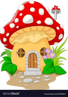 Illustration about Illustration of Cartoon mushroom house. Illustration of spring, flora, plant - 56089128 Easy Drawings For Kids, Drawing For Kids, Cute Drawings, Mushroom House, Mushroom Art, Cartoon Mushroom, House Illustration, Color Pencil Art, Fabric Painting