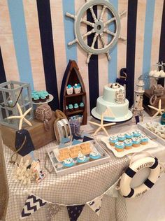 15 Trendy Baby Shower Decorations For Boys Nautical Food Tables Sailor Baby Showers, Beach Baby Showers, Fiesta Baby Shower, Baby Boy Shower, Boy Baby Shower Themes, Shower Party, Baby Shower Parties, Baby Showers Marinero, Shower Bebe
