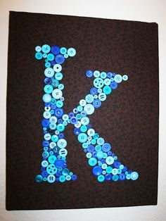 Button letter wall art - maybe brown base with green buttons