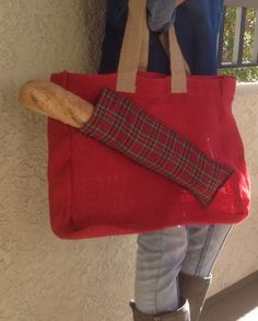 Burlap tote with pocket / red burlap market tote by sowandgather