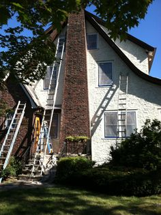 It takes a lot of ladders to reach all the peaks on some homes! Here's the before & after of a recent Rutgers Permanent Painting project in Summit, NJ.