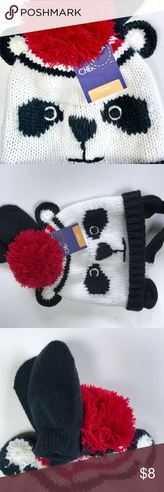 Infants Panda hat and mitten set New with tags Infants Panda hat and mitten set with ears and soft velcro like strap. So cute. Accessories Hats