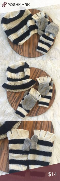 Aerie Winter Hat and Glove Set Only worn a couple of times, zero signs of wear and zero flaws. Super soft and warm! Gloves have optional mittens feature. Great for using your phone when it's cold out. Navy, white and gray details. aerie Accessories Hats