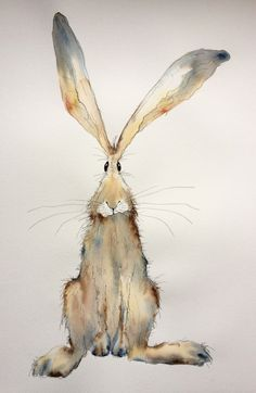 Tabitha  Large Original Watercolour and Ink hare painting