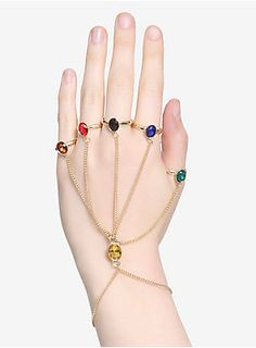 Unleash the power of the Infinity Stones with this hand bracelet from  Avengers: Infinity War ! The gold tone chain hand bracelet features 5 rings and a center stone representing each color of the Infinity Stones.   Metal  Imported