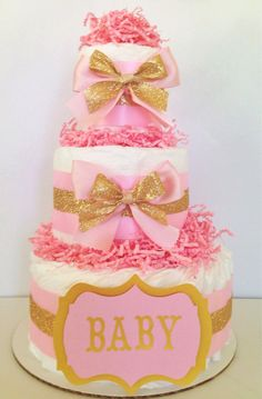 Modern Baby Girl Gold and Pink Diaper Cake Baby by AllDiaperCakes, $45.00