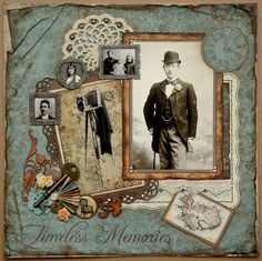 Timeless Memories heritage scrapbook page; Lace back of picture made with MS Swirling Lace punch Scrapbooking Vintage, Scrapbook Paper Crafts, Scrapbook Cards, Scrapbooking Ideas, Heritage Scrapbook Pages, Scrapbook Page Layouts, Retro, Etiquette Vintage, Images Vintage