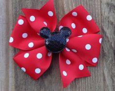 Arco del pelo rojo Minnie Mouse conectado por SoSweetBabyBoutique2