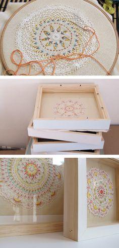 Ernest Hope - Framed Embroideries - embroider on vintage doilies - good idea