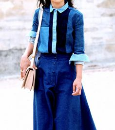 Get It While It's Hot: Patchwork Denim via @WhoWhatWear